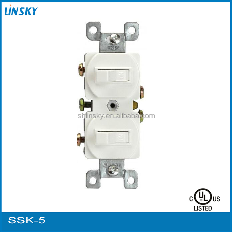 15A 120V Wall Rocker Industrial Plug And Socket Power Switch Matching Steel and Plastic Plate