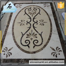 Hotel rectangle marble water jet floor medallion pattern from China