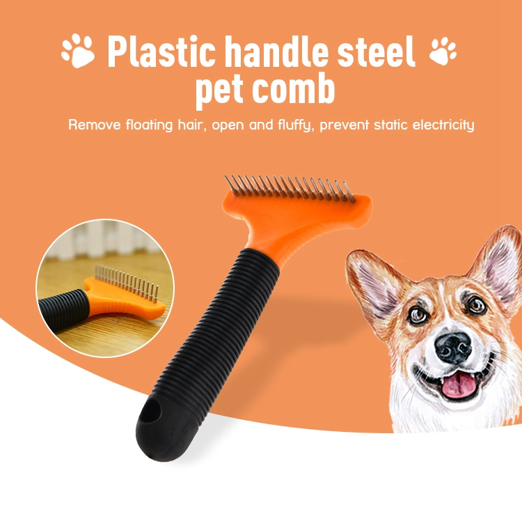 Tianuan pet engineered rubber grip pet grooming comb stainless steel