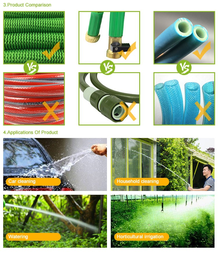 New Double Latex expanding 5 times flexible garden water hose