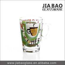 Wholesale 5OZ printed/decal glass coffee mug with handle, drinking water glass cups GB094504 QT-274B TH