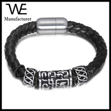 Stainless Steel Magnetic Clasp Bracelet Greek Symbol Style Bangle Leather Jewelry