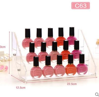 5 tiers clear acrylic nail polish display rack <strong>showing</strong> 18 bottles