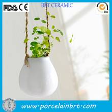 Bulb Egg Shape Ceramic Glazed Hanging Plant Flower Pot