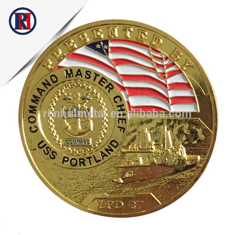 High Quality Customized American Navy Logo Metal Gold Souvenir Cheap Challenge Coin