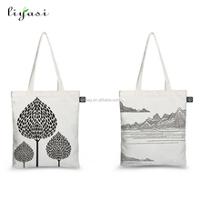 100% Nature Promotion Hand Fashion Cotton Canvas Bag Customized Wholesale Standard Size Eco Beach Cotton Canvas Bag With Zipper