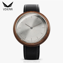 New model high quality custom watch men's wristwatch genuine leather band watches men wood