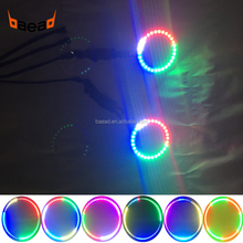 Baead full circle 80mm chasing color angel eyes LED halo rings for motorcycles