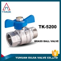 "2 WAY T port ball valve thread NPT handwheel CF8 1/2""x1/2"" double female brass ball valve"