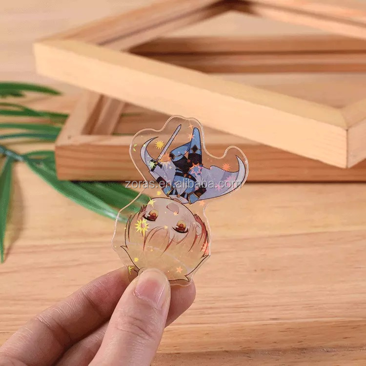 No MOQ flash epoxy animation cheap keychain clear custom fast delivery three days holographic acrylic charm