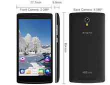 Original ZOPO ZP520 4G LTE ZP 520 Mobile Phone MTK6582 Quad Core 1.3GHz 5.5 inch IPS Screen 1GB RAM 8GB ROM 8MP