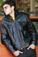 Italian men genuine lambskin leather jacket color black