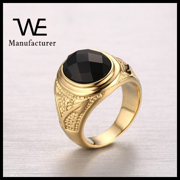 Beautiful Customized Stainless Steel 24K Solid Gold Engraved Black Stone CZ Ring For Men