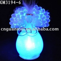 fiber optical glass angel with LED light for Christmas decoration