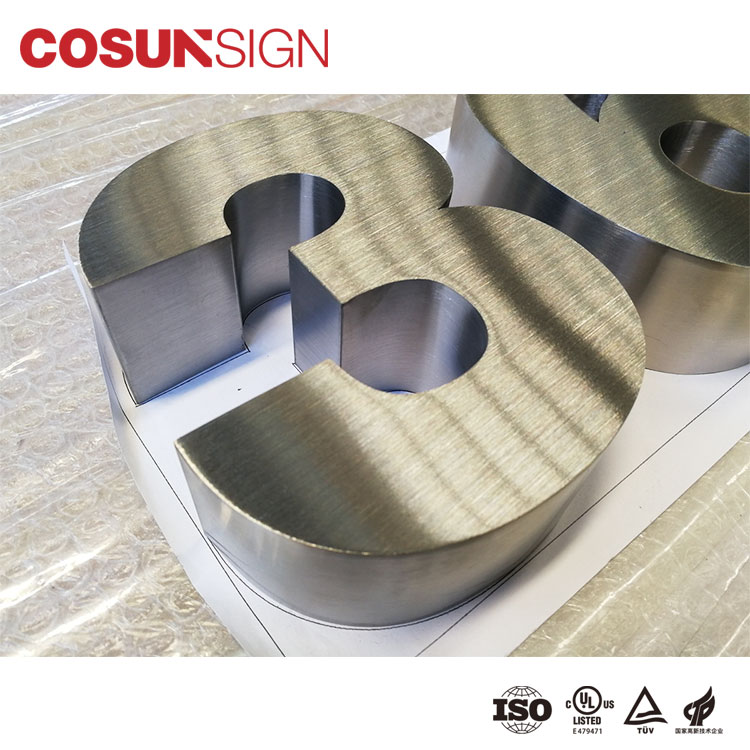 3D stainless steel dimensional brushed letter signs