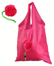 Hot seller colorful rose flower shape polyester shopping bag