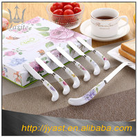 Ceramic handle houseware knife set 18/18 stainless steel cutlery with mirror polished