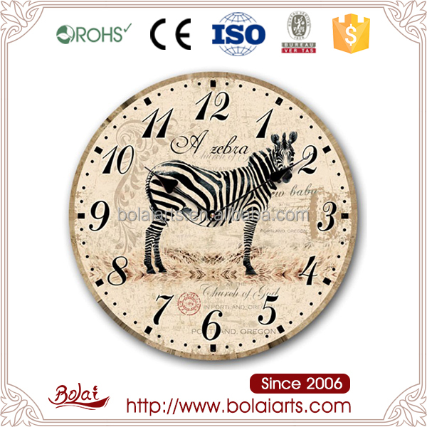 Cartoon zebra printing do old round shape clock crafts animal for bed room