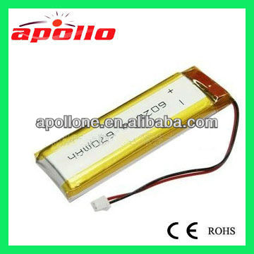 rechargeable 3.7V 650mAh Li-polymer battery for iPDA, laptop