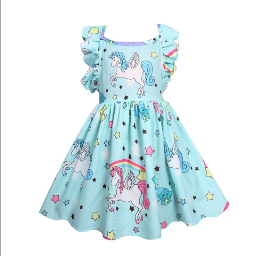 New Design party birthday unicorn dress zipper Baby girls dress children bouquite clothing kids dress for 3-7years