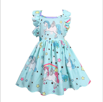 RTS New Design party birthday unicorn dress Baby girls dress children bouquite clothing kids dress for 3-7years