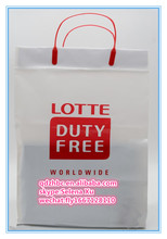 Biodegradable duty free shopping plastic bag with handles
