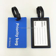 Guangdong factory high quality soft pvc plastic standard size luggage tags