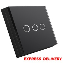 Wholesale EU UK US AU 1 to 3 Gang Light Touch Switch with Glass Panel Screen Touch Wall Switch Touch Wireless Switch