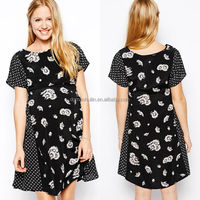 Summer wholesale clothing printed dress office wear for pregnant women