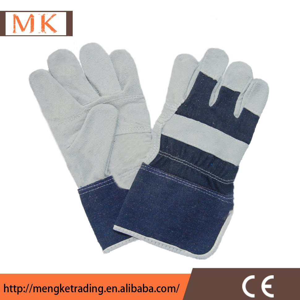 Half Lining Jean and Leather Safety Gloves