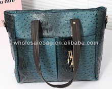 2014 Fashion Designer In Stock Wholesale Ostrich Pu leather Handbag Wholesale Price Tote Bag For Ladies Women Girl