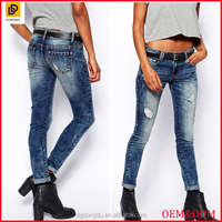 Garment factory long denim jeans wholesale washed skinny women jeans