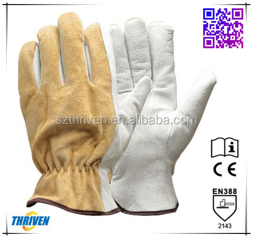 Cow Grain Leather Palm Thinsulate Lining Protective Winter Gloves