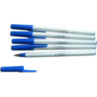 promotional thin stick plastic ball point pen with customized logo for office draft