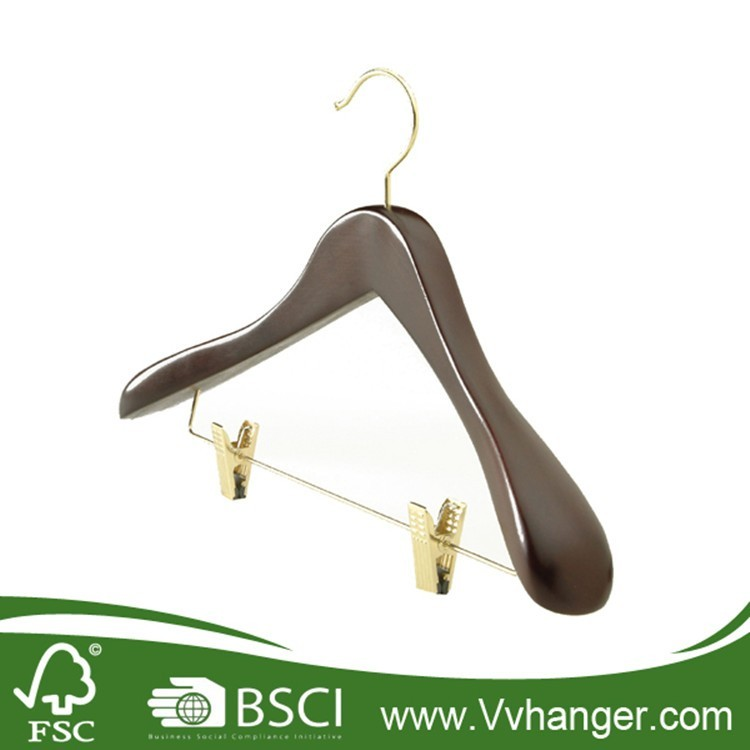 China suppliers Printing Logo Natural Wooden Coat Luxury Brand Hanger