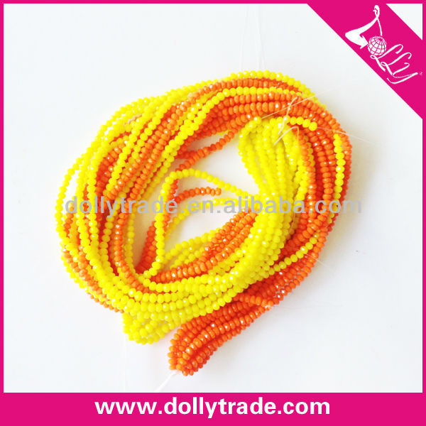 Yellow and Orange Mixed Colorful Bicone Acrylic Beads Strand, Loose Plastic Beads