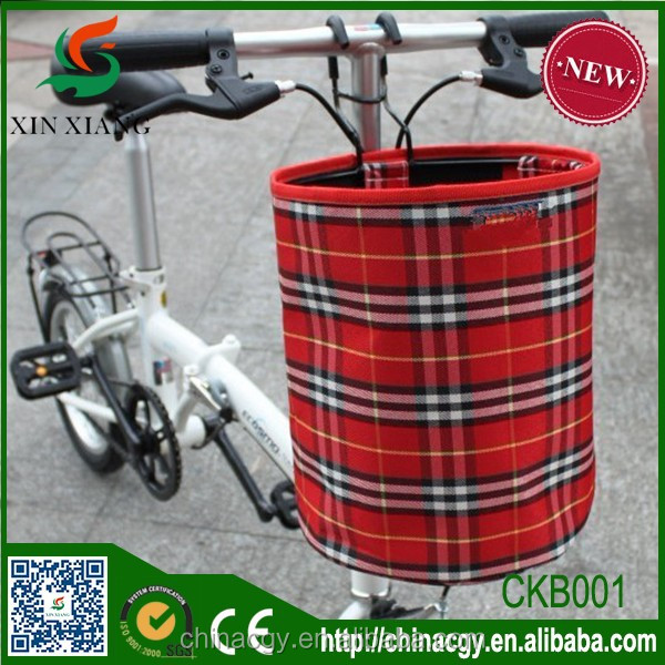 Folding bike basket/kids bicycle cute cloth basket/bike removable waterproof basket