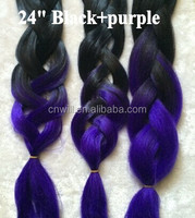 synthetic braiding hair ombre black T purple colored jumbo hair braids heat resistant yaki straight hair