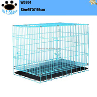 "Black 48"" 2 Door Pet Cage Folding modular Dog Cage Cozy Cat Crate Kennel w/ABS Tray"