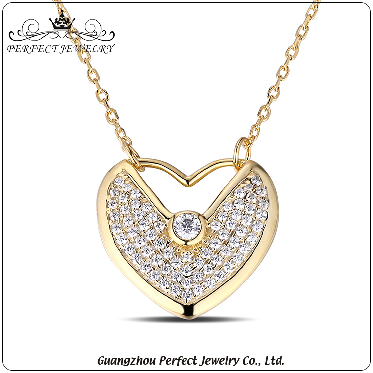Factory Customized High-End Fashion Plating 18K Gold Heart Sterling Silver Pendant Necklace
