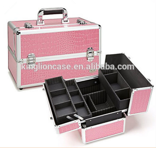 Custom-made Professional Makeup Case w/ 3 Trays - Pink Gator/Silver Trim