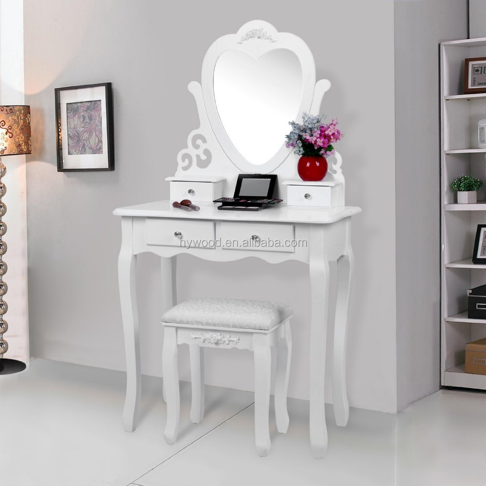 Heart Shape Mirror Wooden Wall Mounted Dressing Table