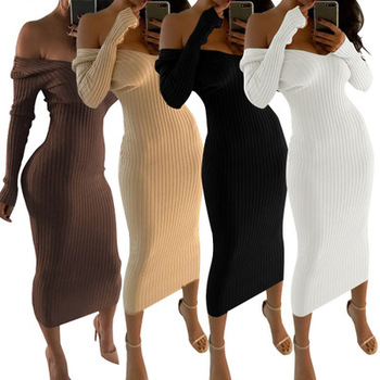 Fashion Women Dresses Long Sleeve Off Shoulder Club Slim Bodycon Knitted Sweater Casual Night Dresses Black White Beige