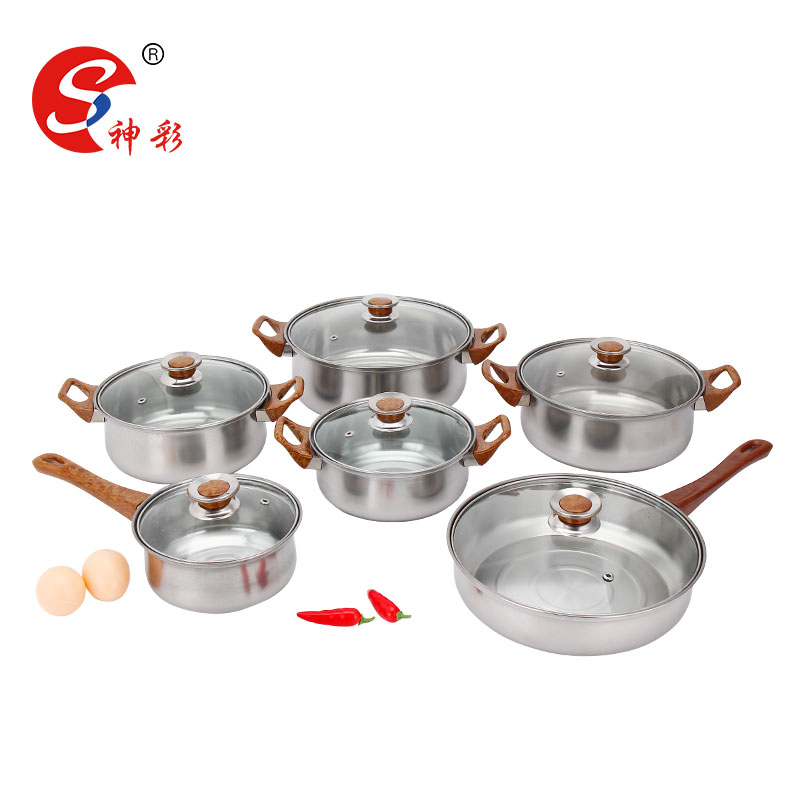 kitchenware 2016 kitchen accessories 12 pcs stainless steel cookware set with glass lid