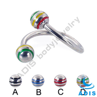 S-bar surgical steel body piercing with O-ring balls screw eyebrow ring