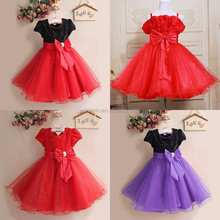 lace girls dress evening ball gown children fashion and fashion princess party big bow knot dress wholesale with high quality