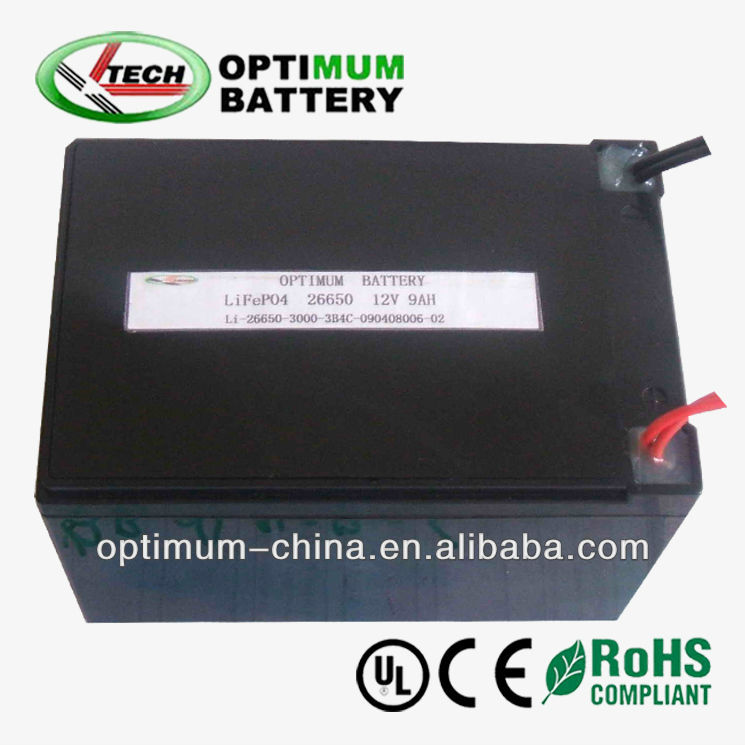 Rechargeable lifepo4 cell 12V 9Ah