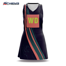 Professinal Custom Sublimation printed Netball bodysuit/dress/skirt with 100%polyester