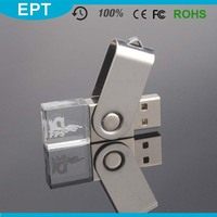 Special Crystal LED Light PCBA USB Flash Drive with Laser Engraving Logo