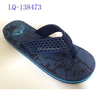 Embossed EVA Strap Navy Blue Slippers Beach Shoes EVA Shoes